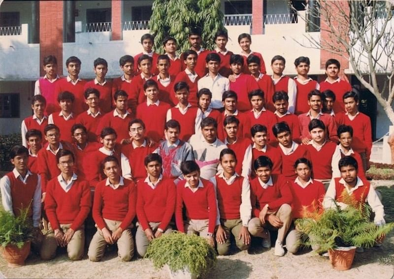 Class 12-A, Jan 1991, Pt. Deendayal Vidhyalay. Satish is the one without sweater
