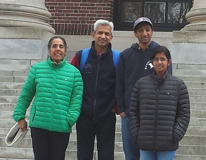 Vasan with his family in Boston