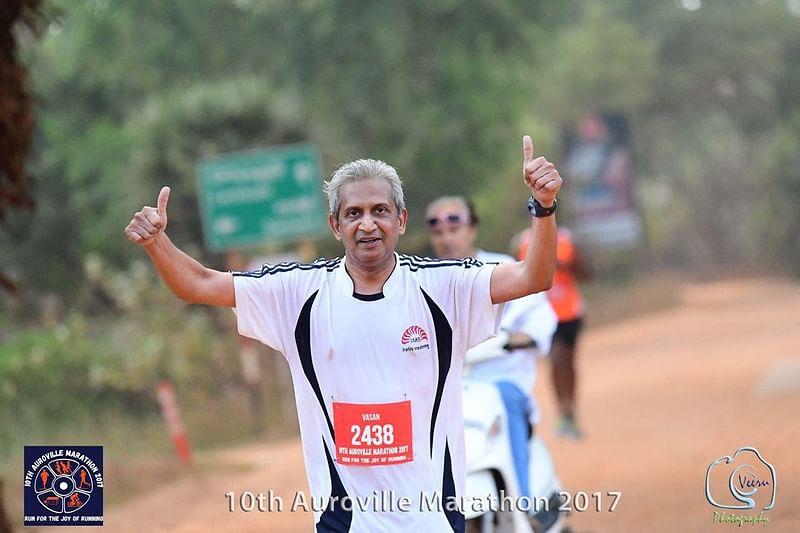 Vasan at a Marathon in Auroville