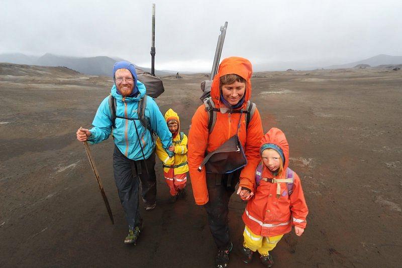 Erin, Hig, Katmai, and Lituya walk across Okmok Caldera.