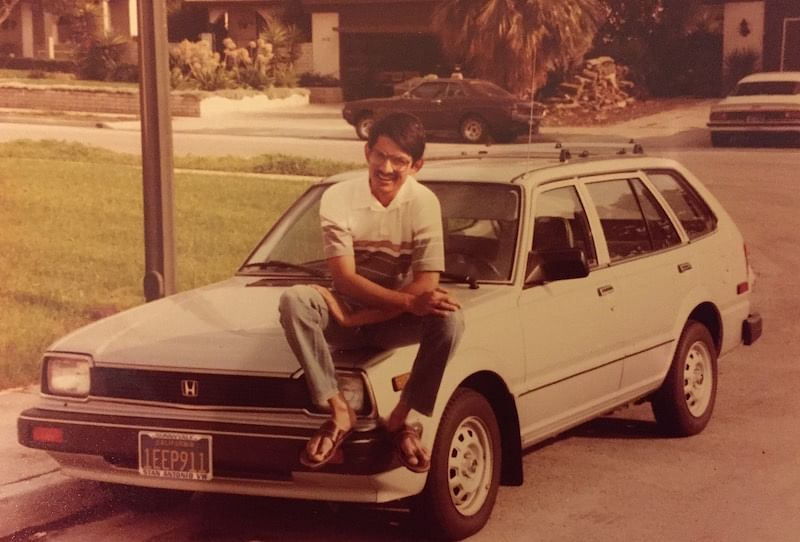 A sunny day in America - Rajiv poses with his car in Sunnyvale