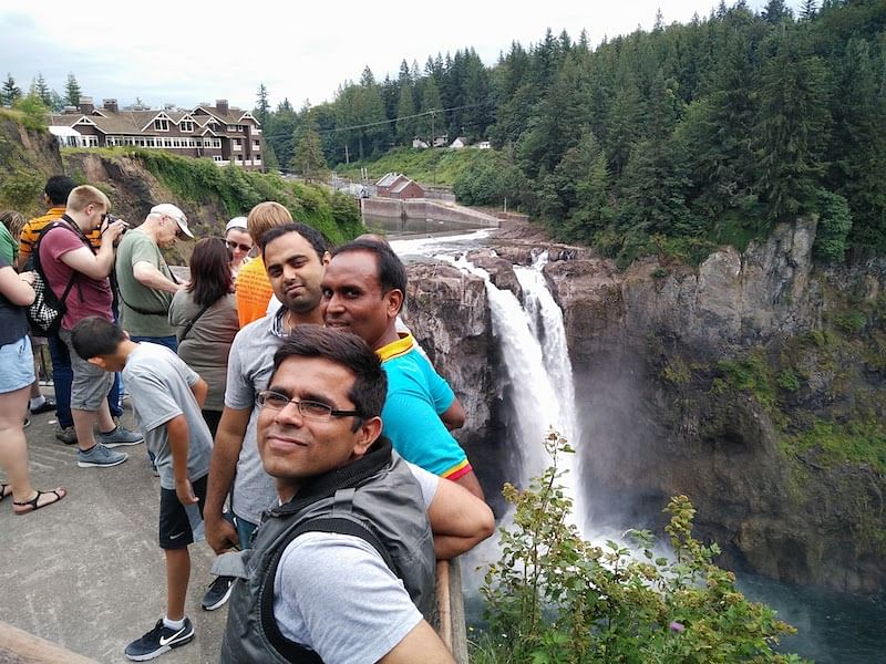 With Amazon Friends at Snoqualimie Falls, Seattle