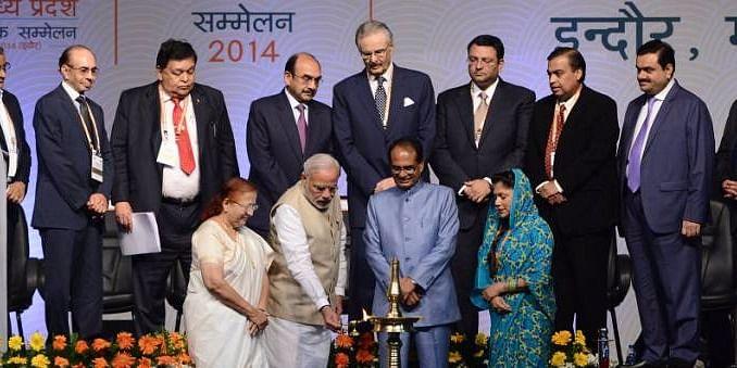 Prime Minister Narendra Modi inaugurating Global Investors Summit 2014
