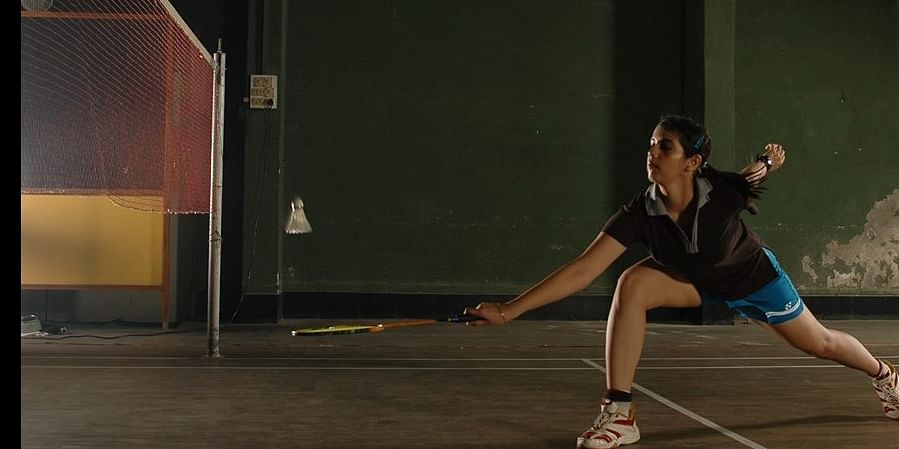 In action at a badminton tournament