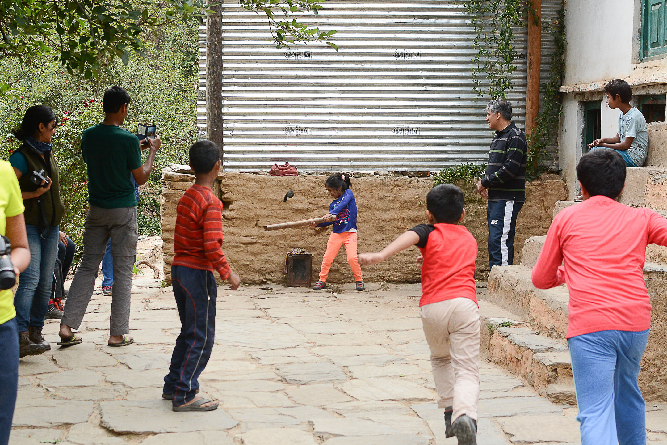 Kids Playing Cricket at the Homestay