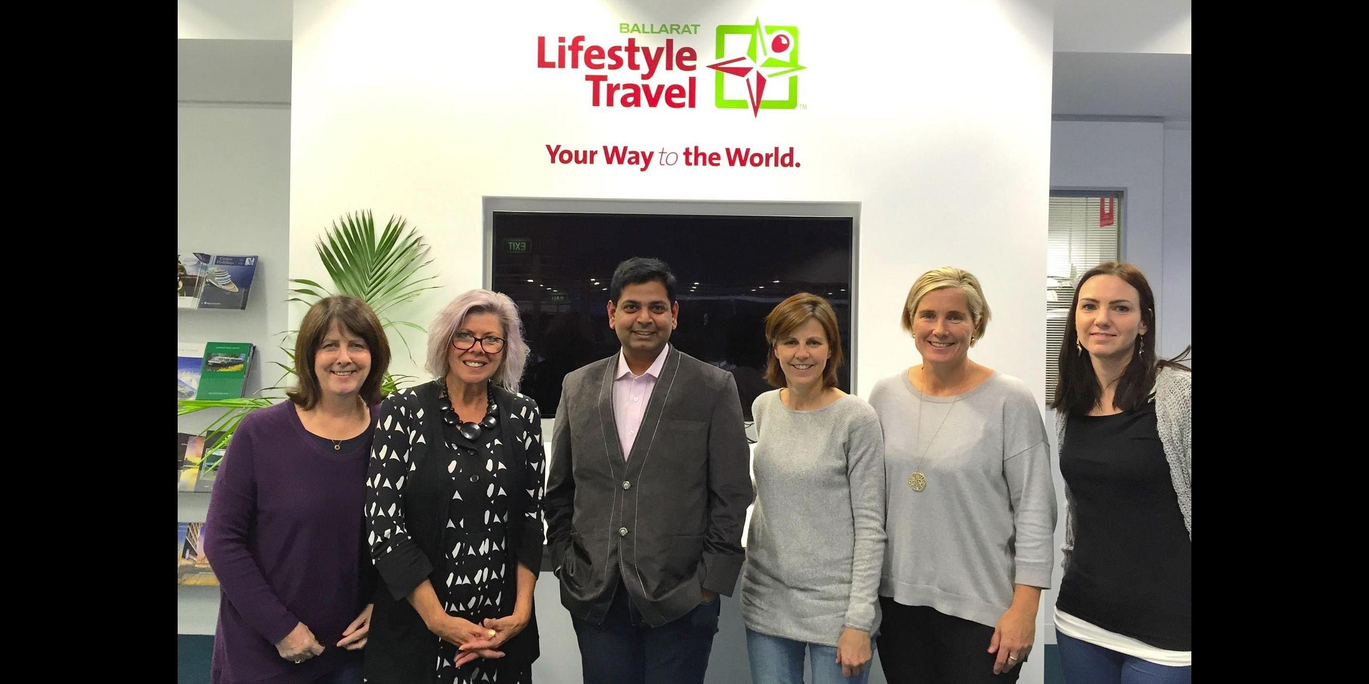 Teks Down Under: Hussain Fakhruddin (center) with client team at Ballarat, Australia
