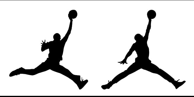A silhouette of Rentmeester's image (left) and the Jumpman logo (right), submitted as part of the court filing.