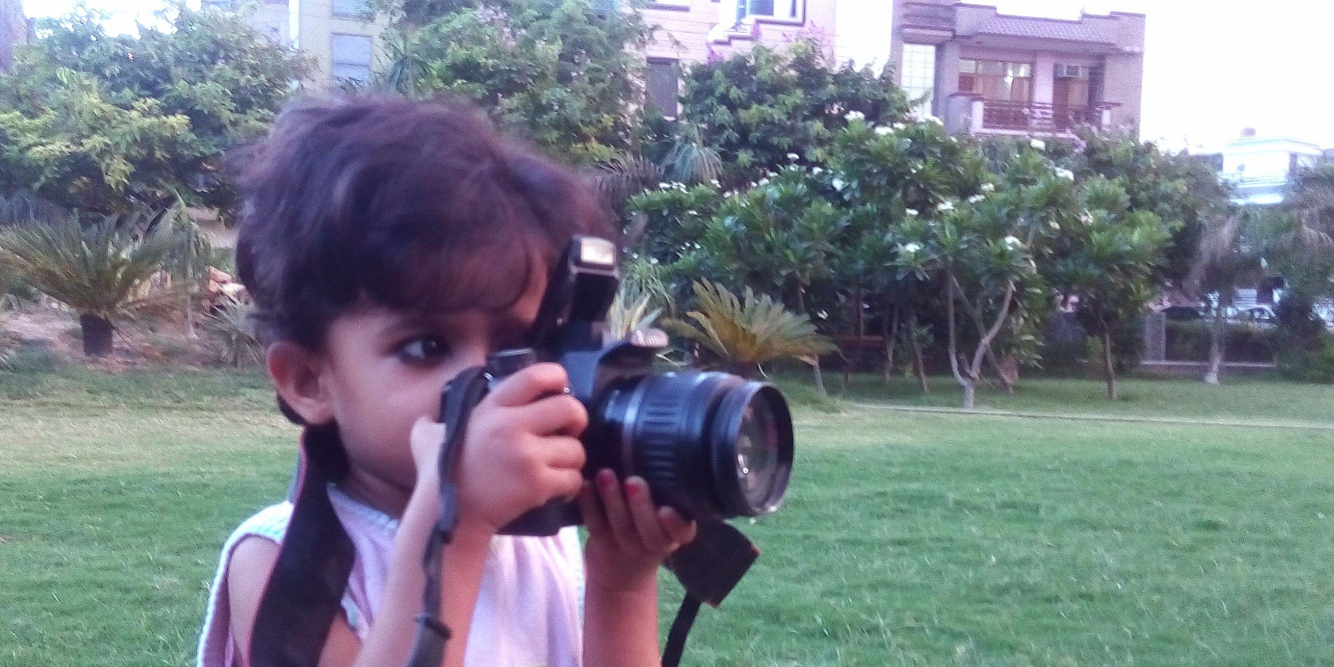 Nainika Clicking with DSLR Camera