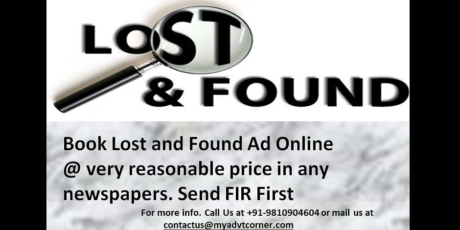 Lost and Found Ad in Newspaper