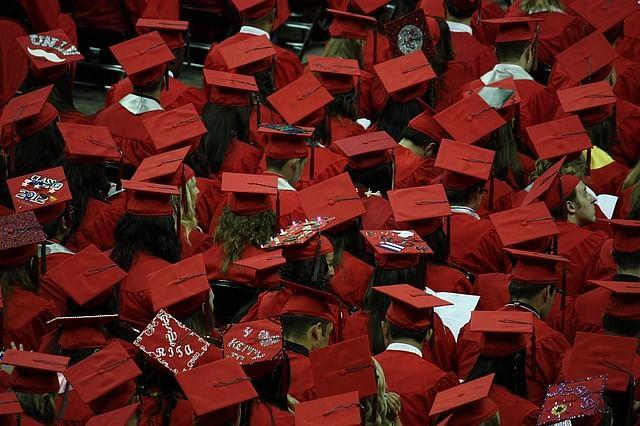 A college graduation ceremony