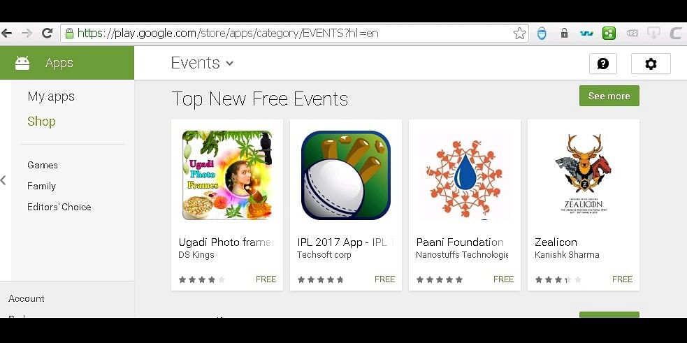 Obtained  the second slot in Top Free Events at Play Store
