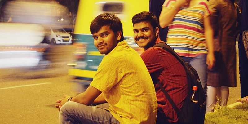 Yogendra with his friend.