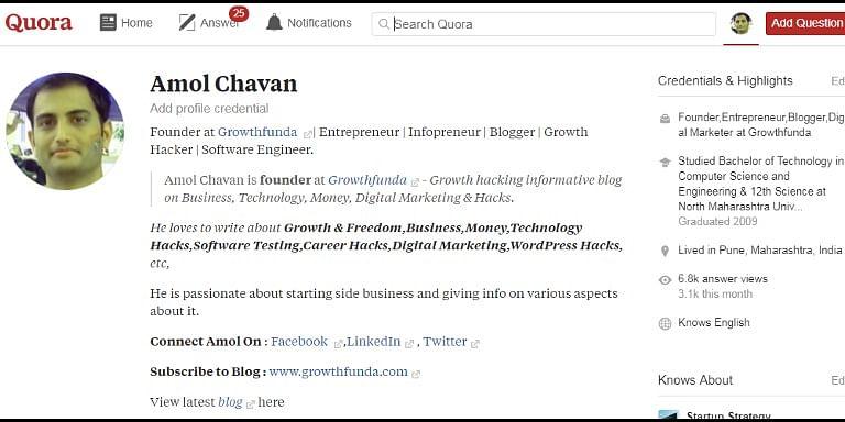 Profile — Amol Chavan Founder at Growghfunda