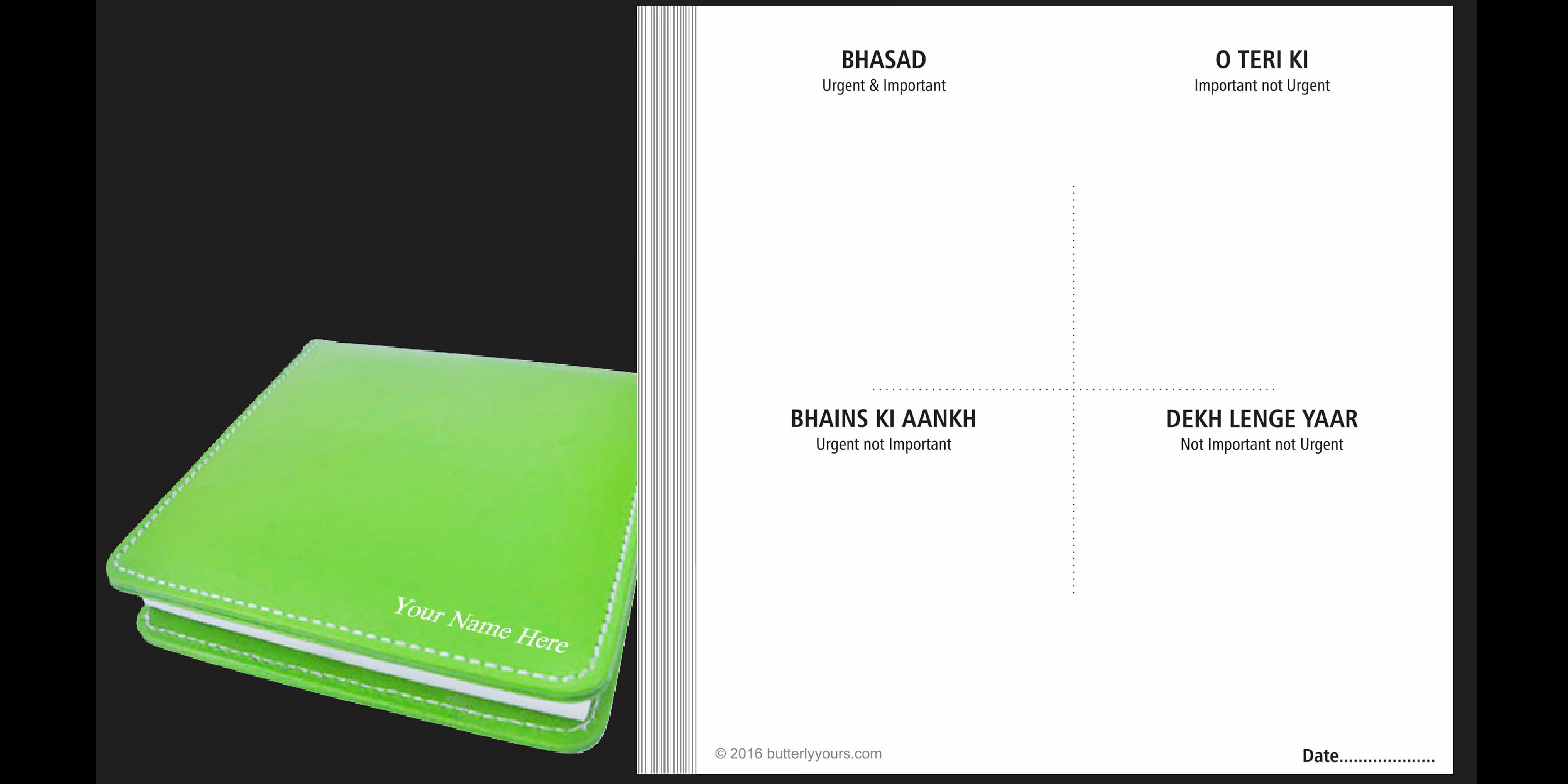 The Bhasad Day Planner as it looks today.