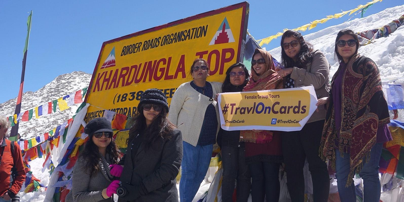 (<b>TOC Women Group</b> at the world's highest &nbsp;motorable road - <b>Khardungla </b>18380 ft.)