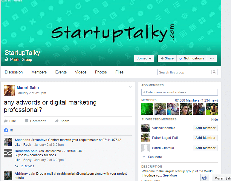 StartupTalky group where Murari posted his requirement