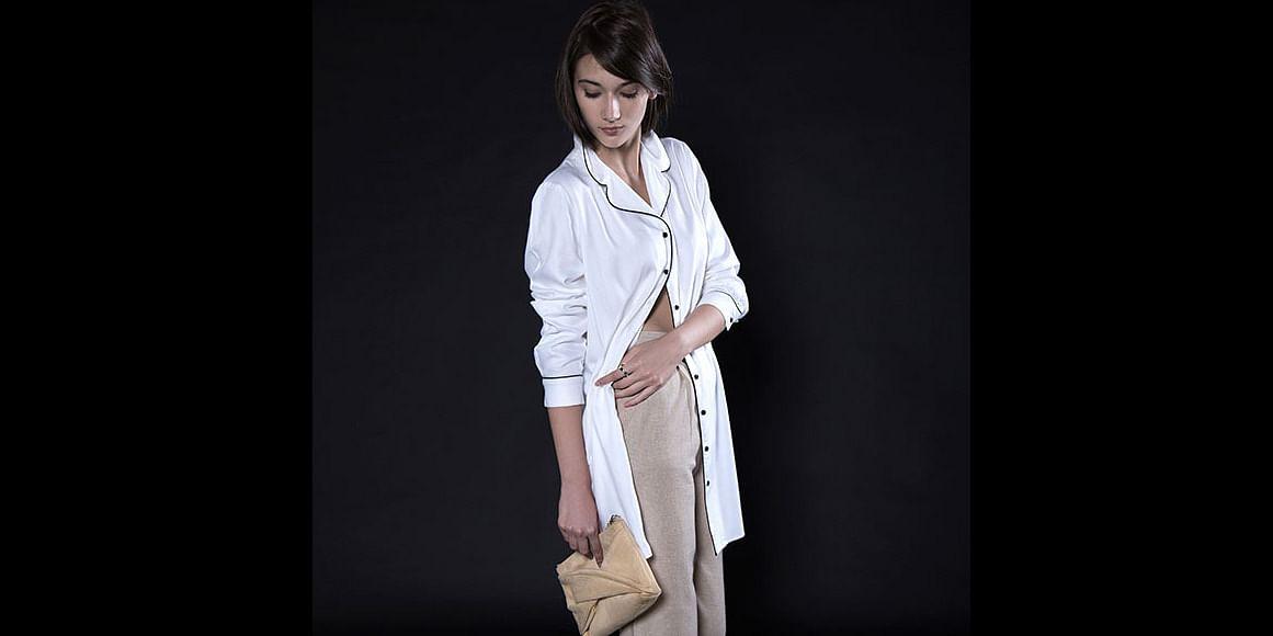 White cotton sleep shirt<br>