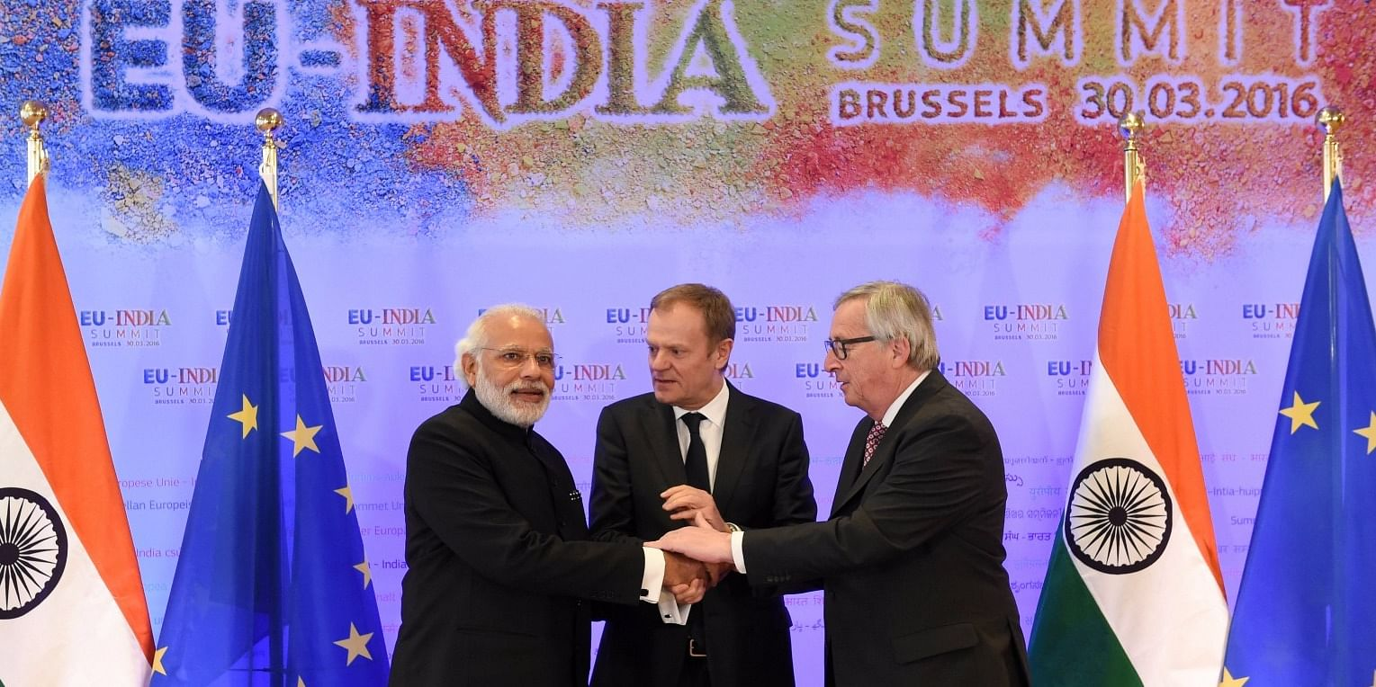 Indian PM Narendra Modi with President of the Council of Europe, Donald Tusk and President of the European Commission, Jean-Claude Juncker