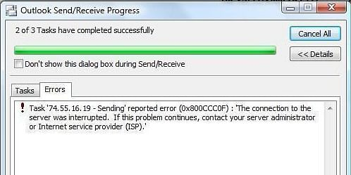 Outlook sending receiving error 0x800ccc0f in Windows 10, 8