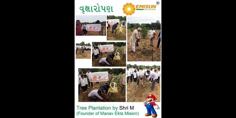 Tree Plantation by Shri M - Founder Manav Ekta Mission at Shri Vijay Orchards & Devpur Farmstay.(Kutch)