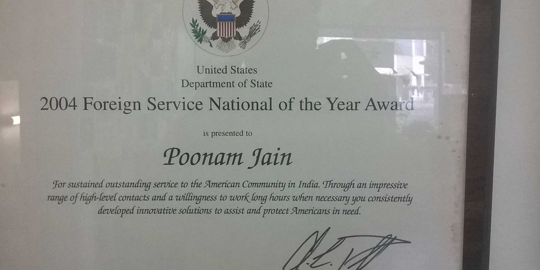 FSN of the Year 2004. A global level selection among 1000s of foreign nationals working for various agencies of US government.