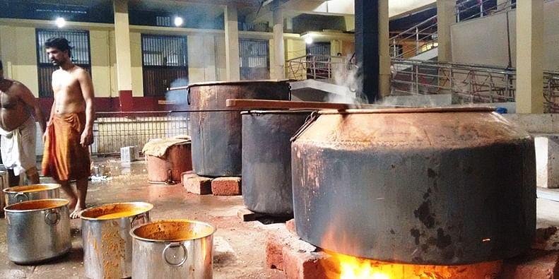 Cooks at work in the Udupi Shree Krishna Temple