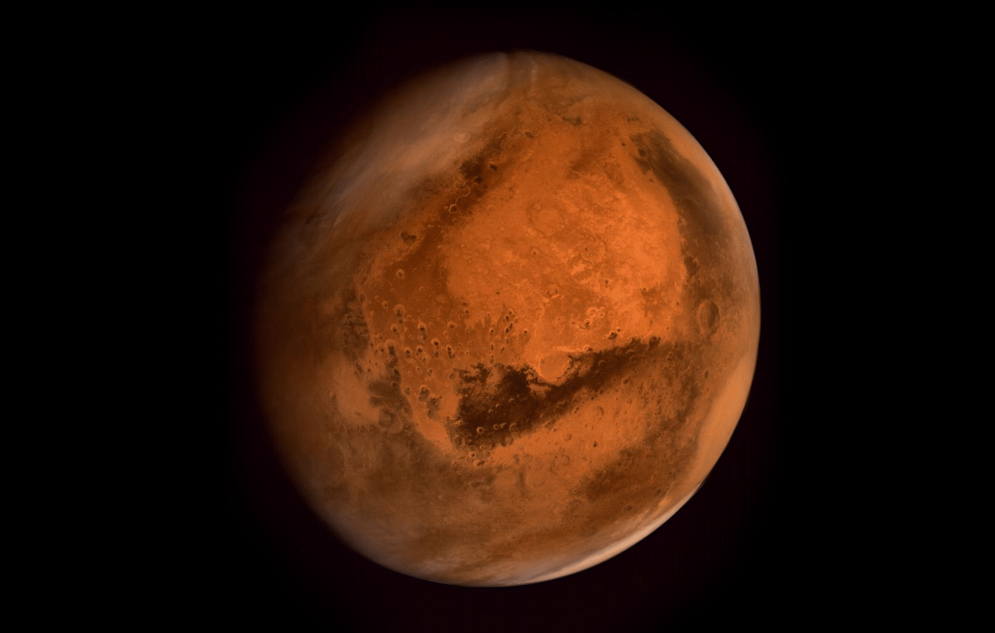 Mars as photographed by India's Mars Orbiter Mission. ISRO 2015