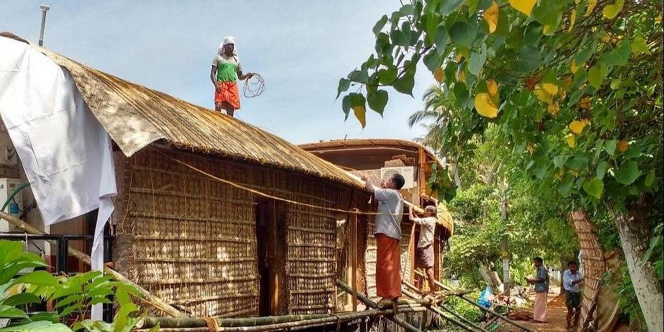 Men at Work Building a Houseboat
