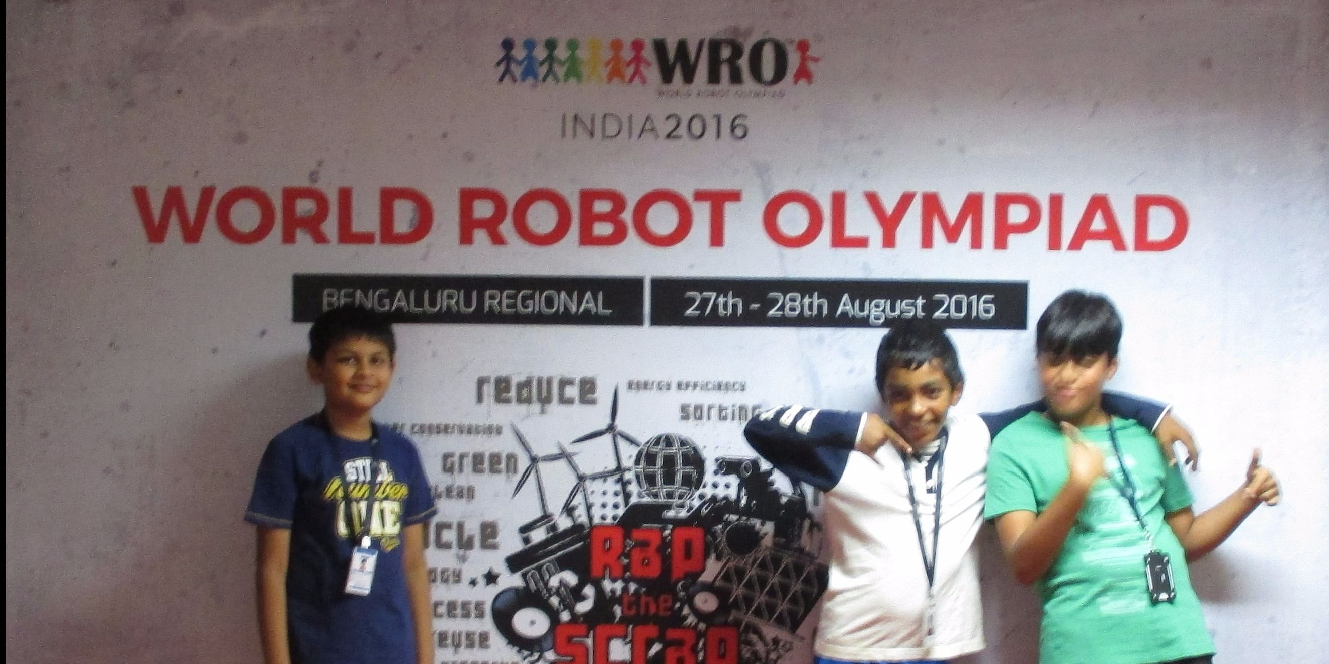 Aadi Sureka, Anirudh and Marc George (3 member team qualifying for national championship from Bangalore region)