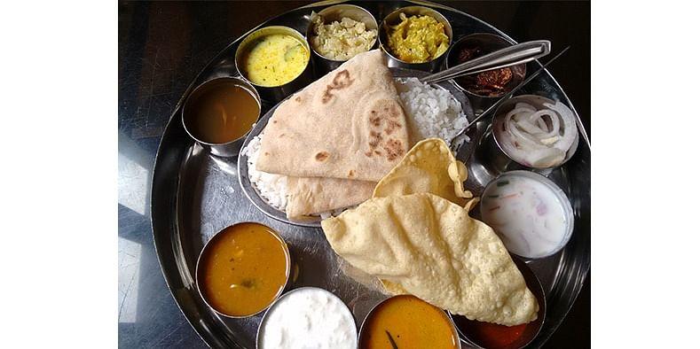 Figure 3 A vegetarian thali meal at Hotel Ariya Bhavan