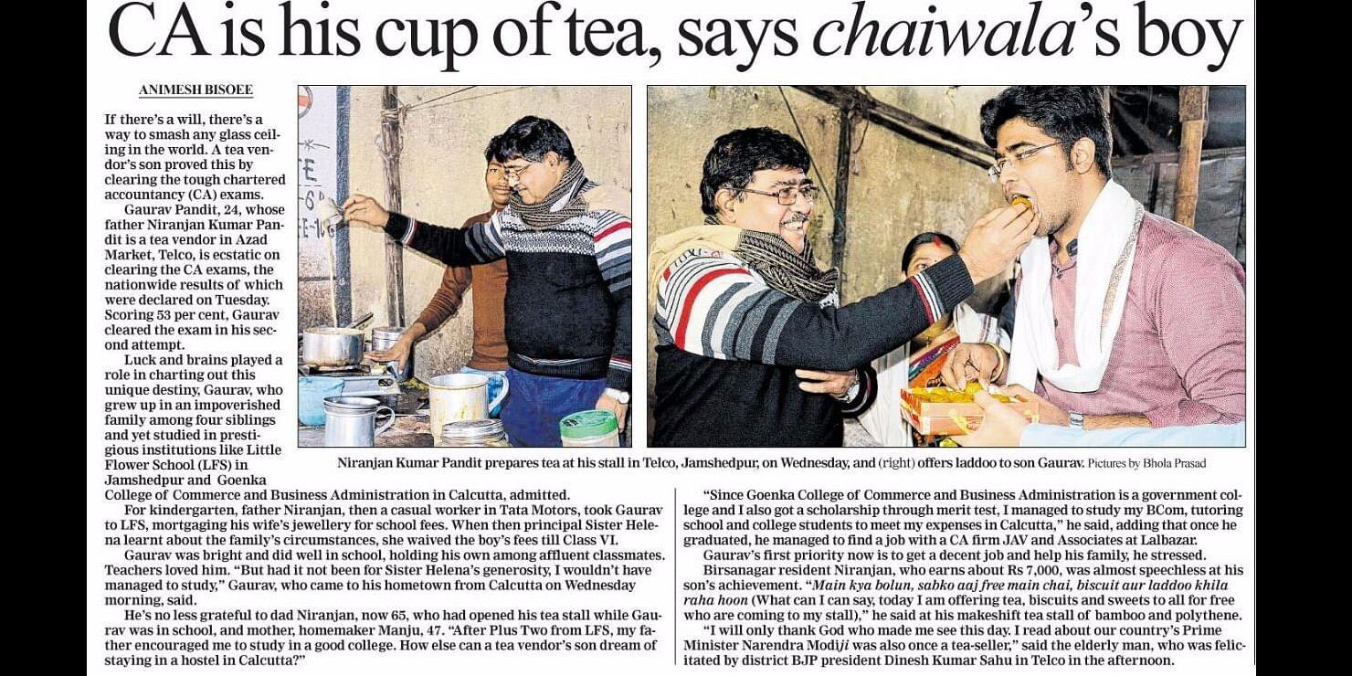 Brewing hard work and luck, steel city Tea vendor's son cracks prestigious CA exam.