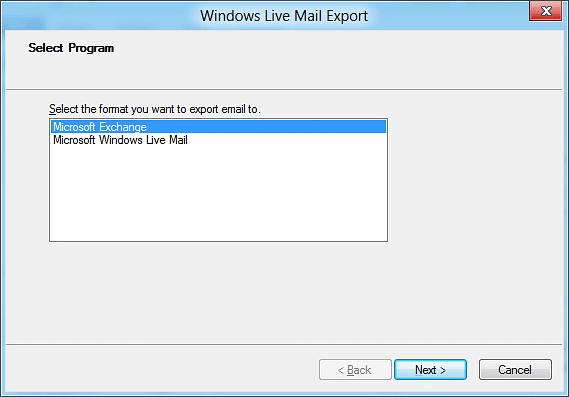 """""""Windows Live Mail Export"""" wizard"""