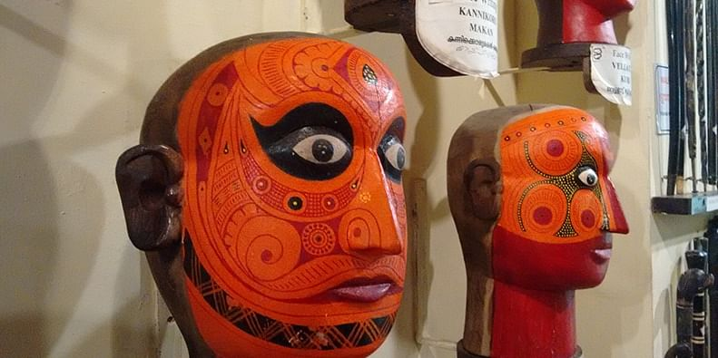 Theyyam Face Writing displays at the Kerala Folklore Museum