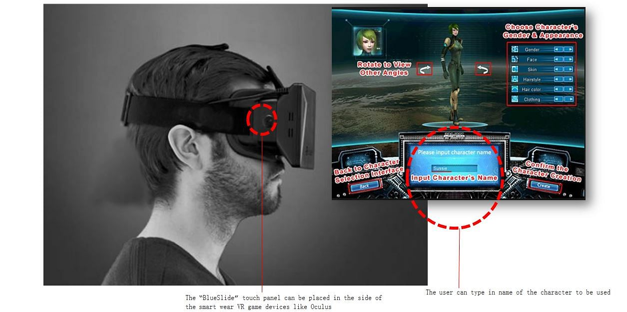 """FIG: In virtual reality games devices like """"Oculus"""" the BlueSlide can be used to implemented to provide text input mechanism easily."""