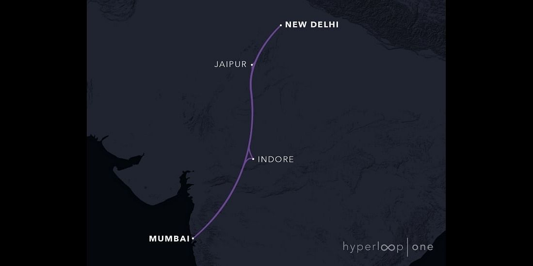 Dinclix GroundWorks' DMHC proposes to reduce travel distance between Delhi and Mumbai to 80 minutes (credits: Hyperloop One)