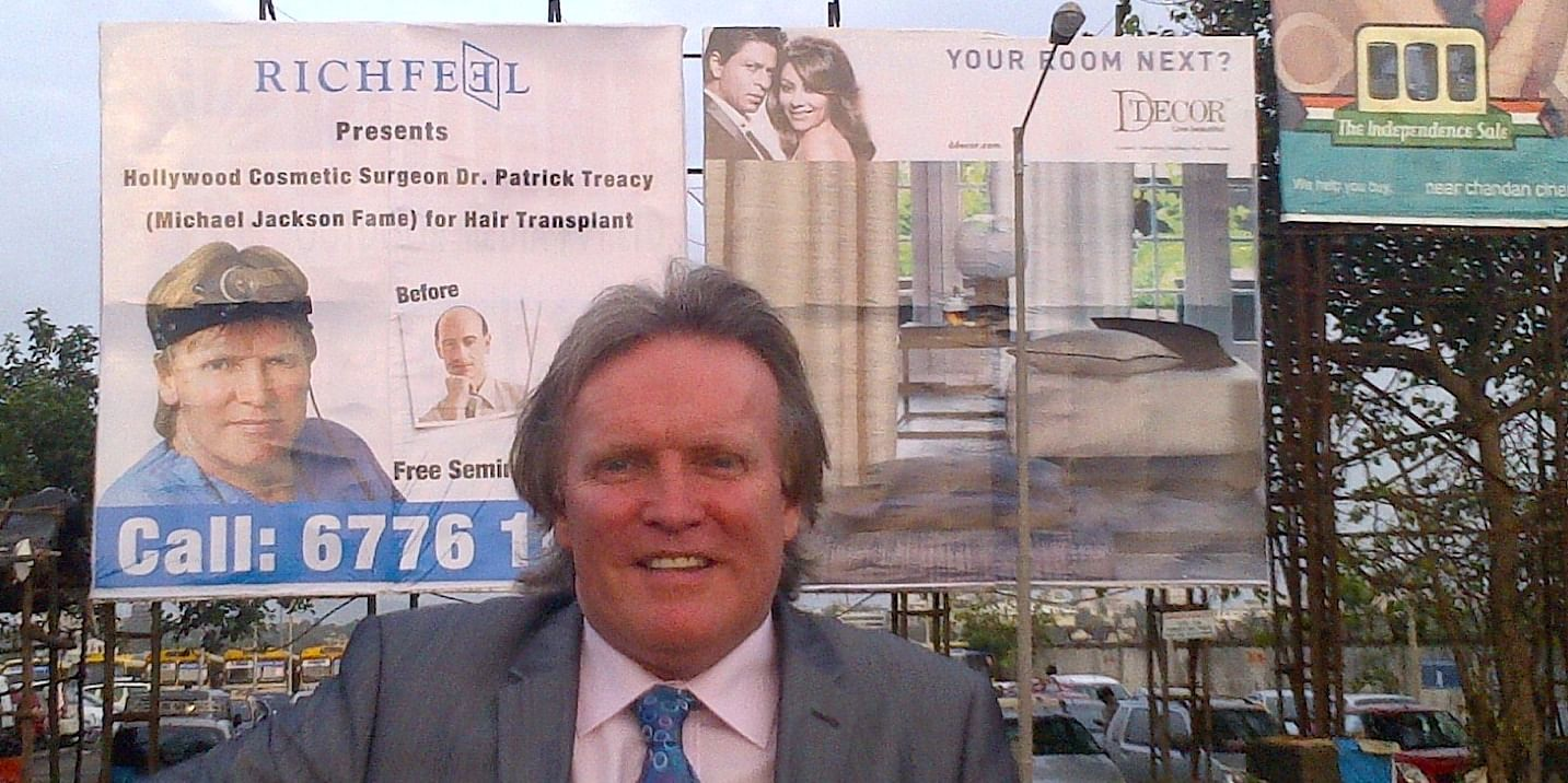 Dr Patrick Treacy is best known in India as Michael Jackson's former doctor and face of Richfield Hair Implants