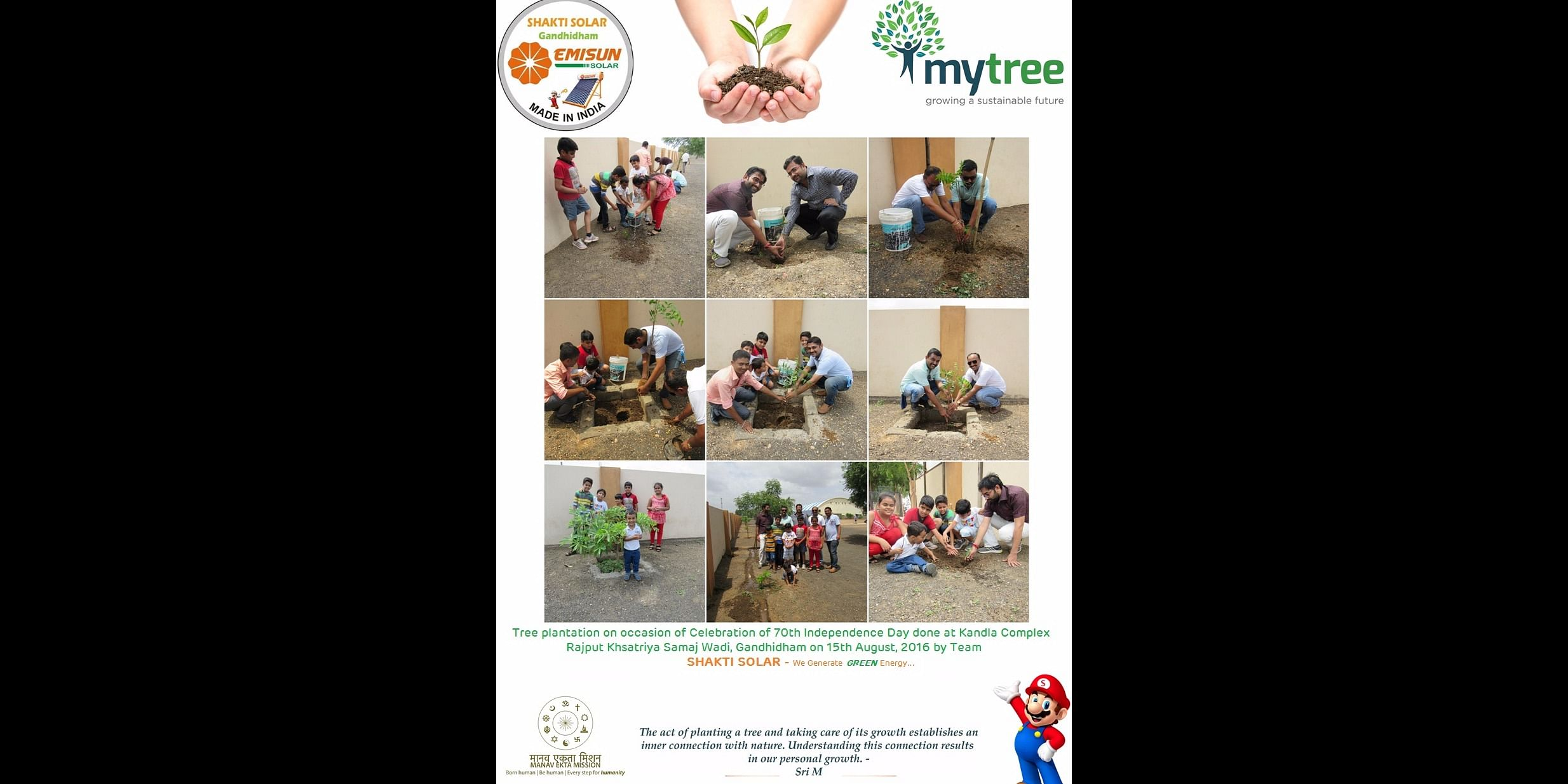 Tree plantation by young Team on occasion of Independence Day held at Gandhidham under #MyTree initiative.