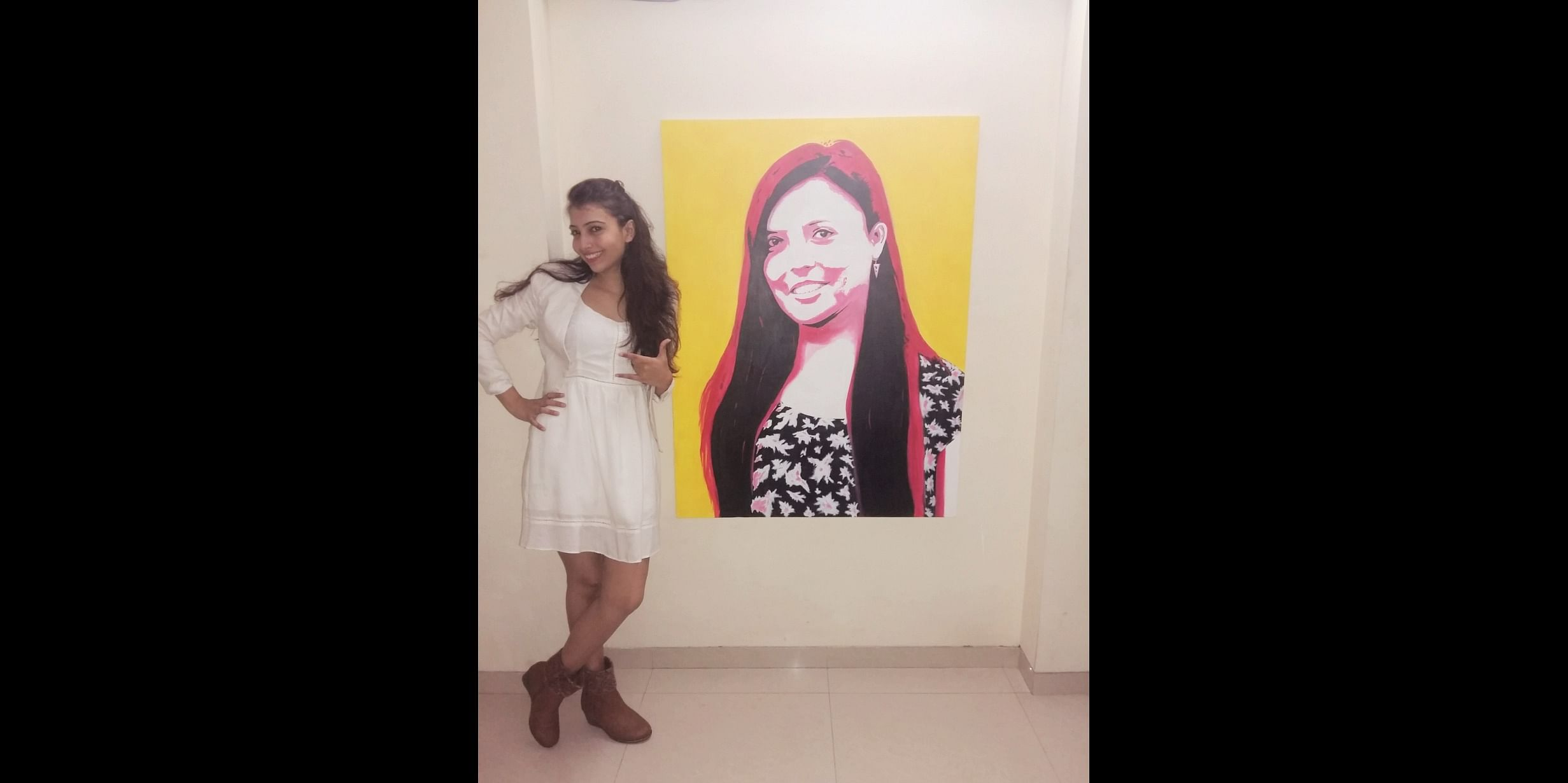 Rupal exhibiting her Giant size wall pop art painting