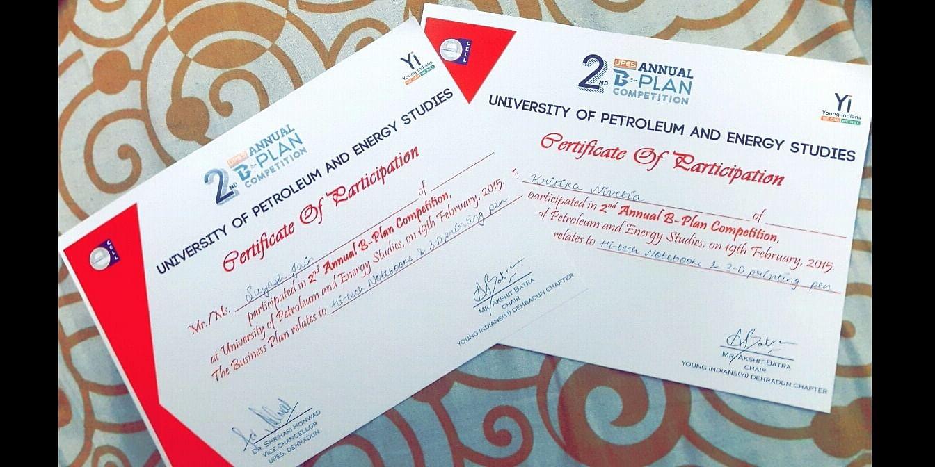 <b>E-CELL Finalist Participation Certificates</b>
