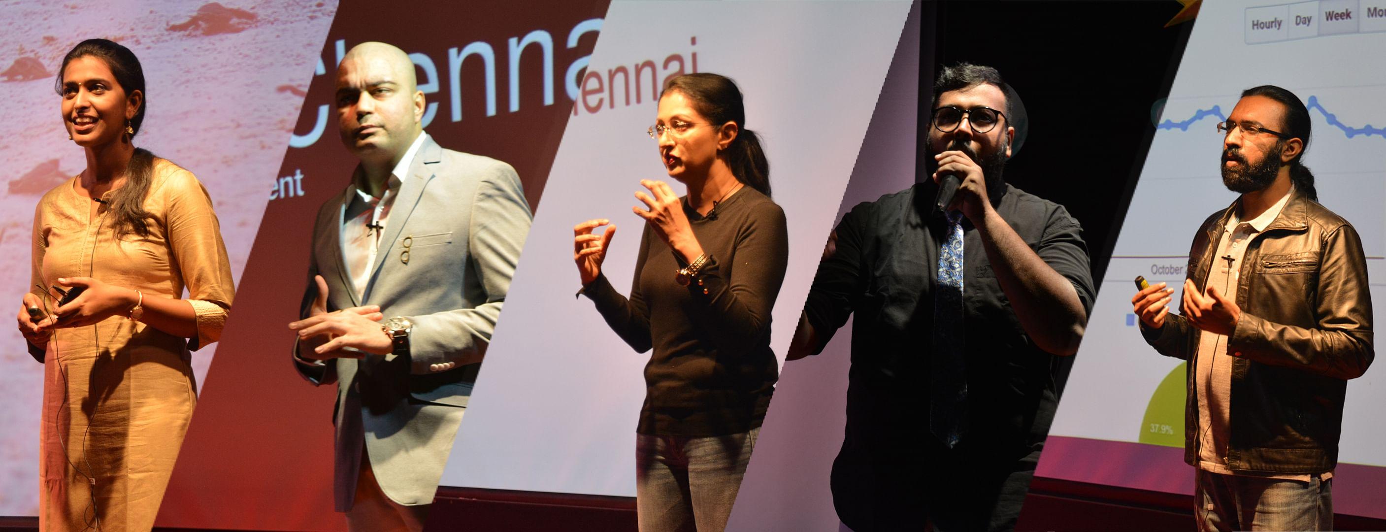Speakers at TEDxGLIMChennai 2018 - From left: Mohana Arun, Kartikey Sharma, Gautami Tadimalla, Bharadwaj Balaji, Deepak Kanakaraju