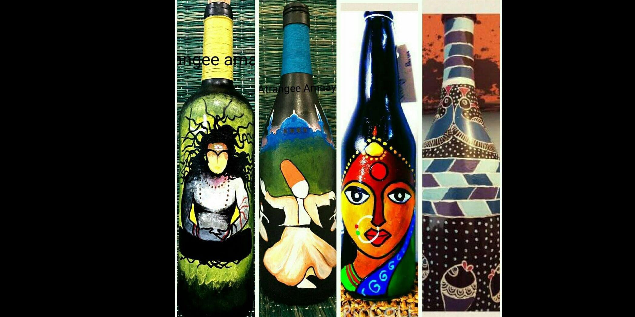 Art on wine bottles.