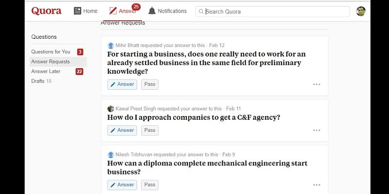 Question types asked on Quora