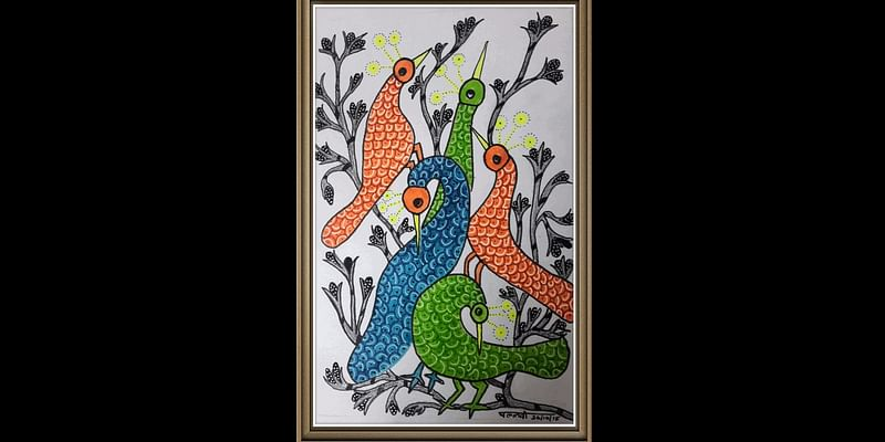 A TRADITIONAL GOND PAINTING OF MADHYA PRADESH WITH A PERSONAL NEON TOUCH