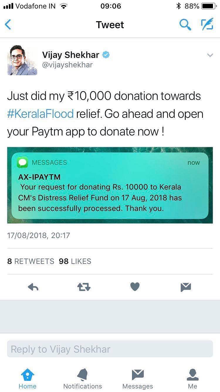 Tweet from PayTM CEO Vijay Shekhar Sharma.