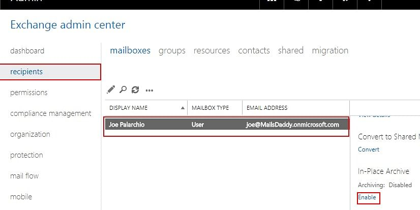 Know how to enable/ disable online archive in office 365 mailbox