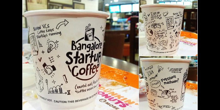 A picture of the startup cup is worth 1000 words – the specially marketed Bangalore Startup coffee is sold India wide Photo credit @apiita
