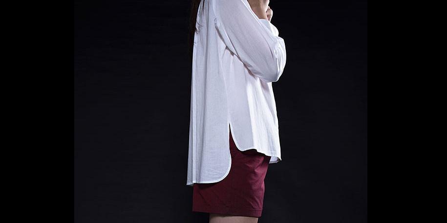 White chinese collar shirt<br>