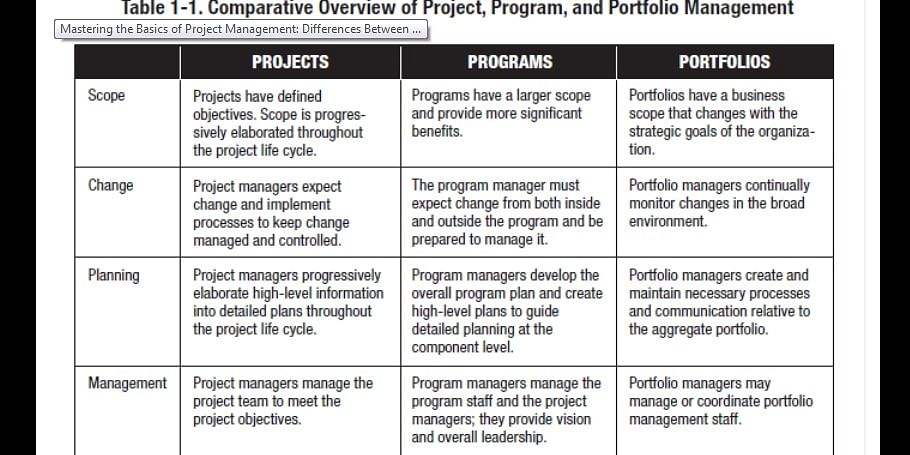 Differences between a project, a program, and a portfolio