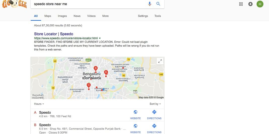 Screenshot for Location search for Speedo in Koramangala , Bangalore, India