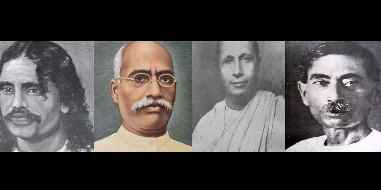 Figure 2: <i>from left to right</i>, Bhartendu Harishchandra, Devkinanadan Khatri, Jaishankar Prasad and Munshi Premchand